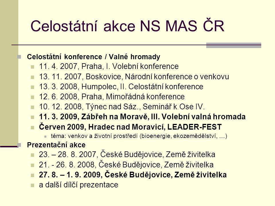 Celostátní akce NS MAS ČR  Celostátní konference / Valné hromady  11. 4. 2007, Praha, I. Volební konference  13. 11. 2007, Boskovice, Národní konfe