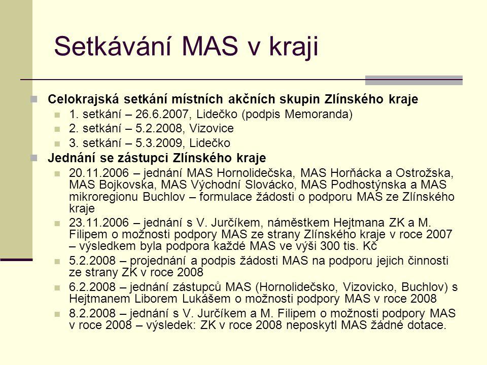 Setkávání MAS v kraji  Celokrajská setkání místních akčních skupin Zlínského kraje  1. setkání – 26.6.2007, Lidečko (podpis Memoranda)  2. setkání