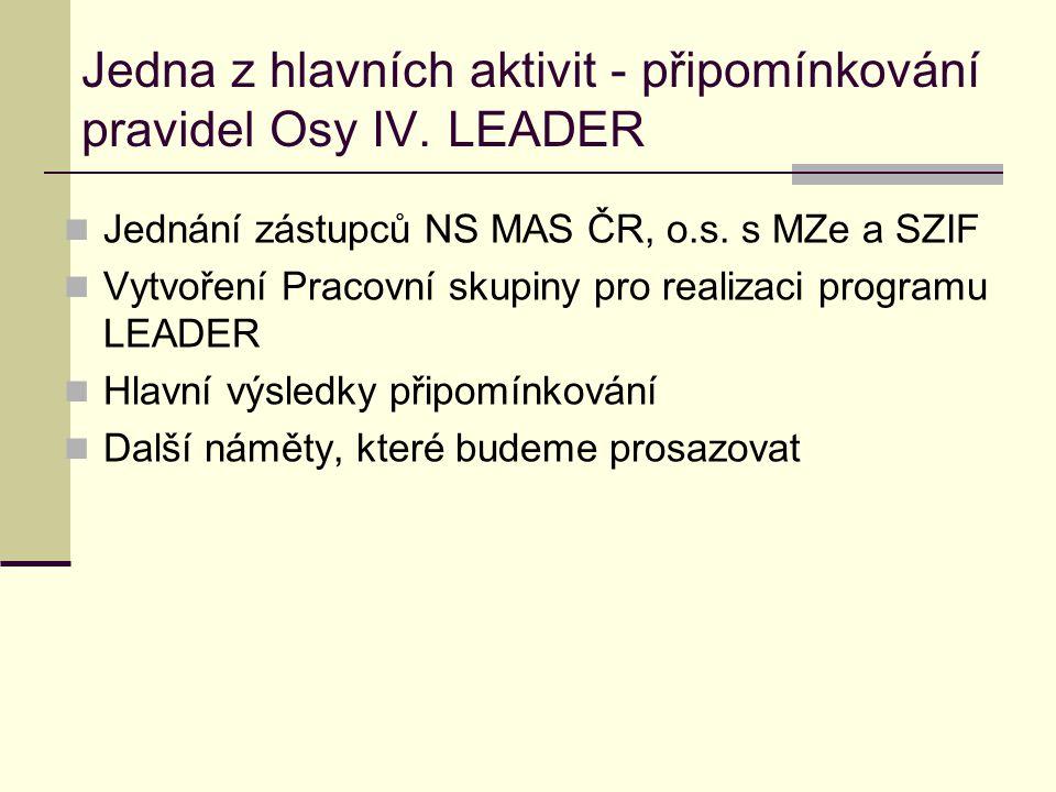 Jedna z hlavních aktivit - připomínkování pravidel Osy IV. LEADER  Jednání zástupců NS MAS ČR, o.s. s MZe a SZIF  Vytvoření Pracovní skupiny pro rea