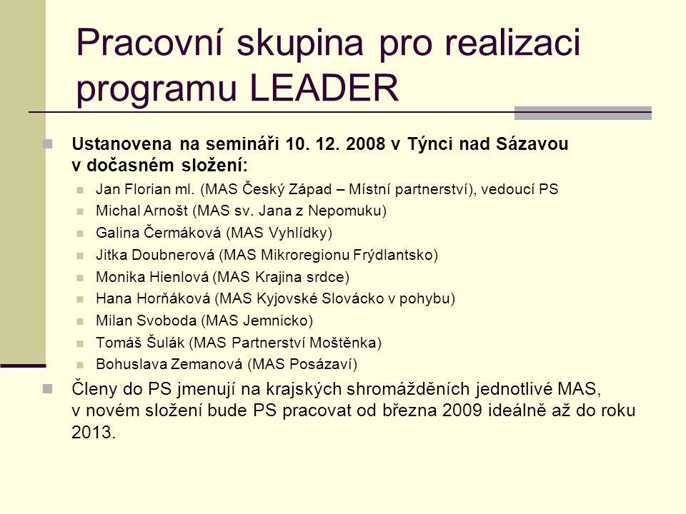 Pracovní skupina pro realizaci programu LEADER  Ustanovena na semináři 10. 12. 2008 v Týnci nad Sázavou v dočasném složení:  Jan Florian ml. (MAS Če