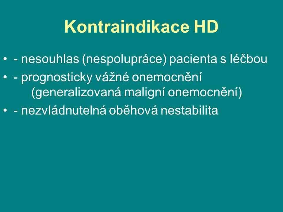 Kontraindikace HD •- nesouhlas (nespolupráce) pacienta s léčbou •- prognosticky vážné onemocnění (generalizovaná maligní onemocnění) •- nezvládnutelná oběhová nestabilita