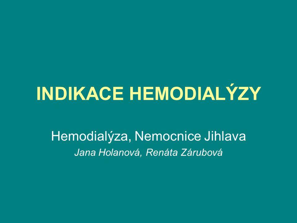 Indikace k hemodialýze jsou: •1.Hyperkalemie nad 6 mmol/l •2.