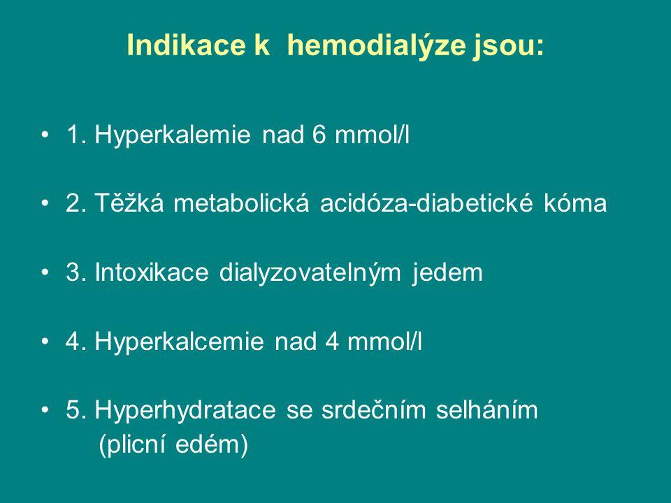 Nejčastější indikace k hemodialýze(2) •6.Klinicky vyjádřená uremie •7.