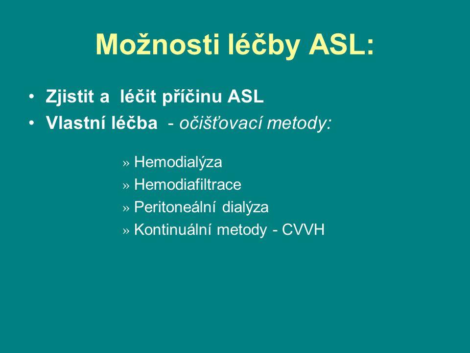 Možnosti léčby ASL: •Zjistit a léčit příčinu ASL •Vlastní léčba - očišťovací metody: » Hemodialýza » Hemodiafiltrace » Peritoneální dialýza » Kontinuální metody - CVVH