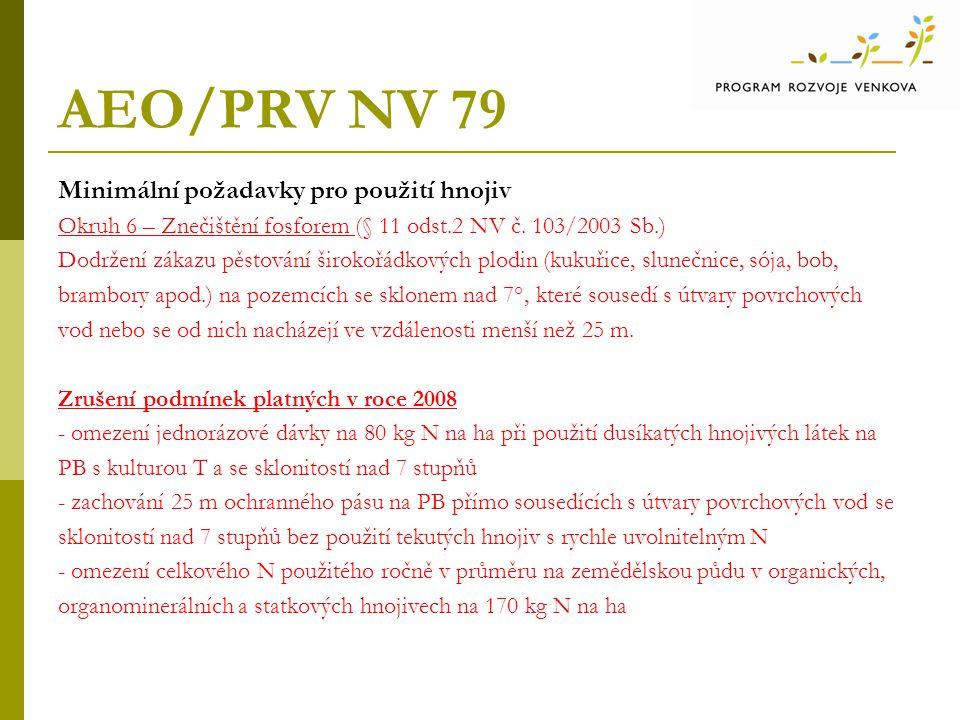 AEO/PRV NV 79 Minimální požadavky pro použití hnojiv Okruh 6 – Znečištění fosforem (§ 11 odst.2 NV č.