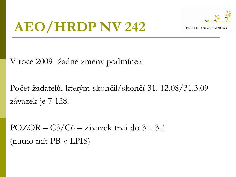 AEO/HRDP NV 242 V roce 2009 žádné změny podmínek Počet žadatelů, kterým skončil/skončí 31.