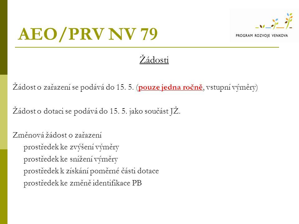 AEO/PRV NV 79 Žádosti Žádost o zařazení se podává do 15.