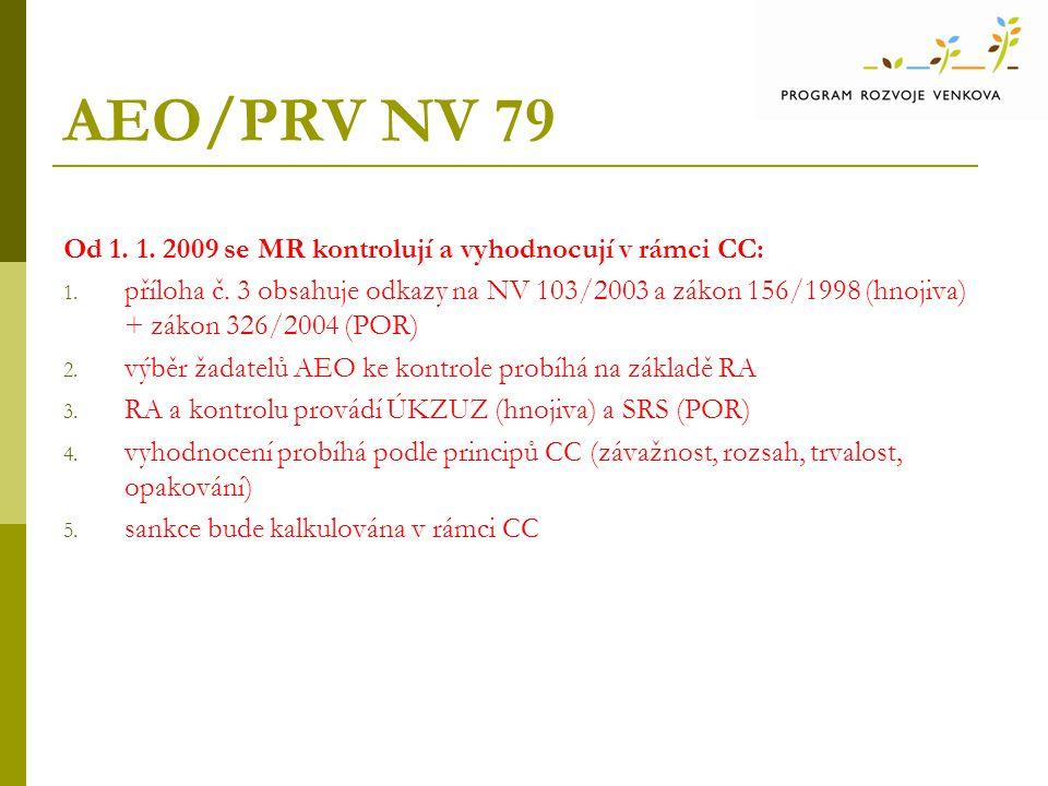 AEO/PRV NV 79 Od 1.1. 2009 se MR kontrolují a vyhodnocují v rámci CC: 1.