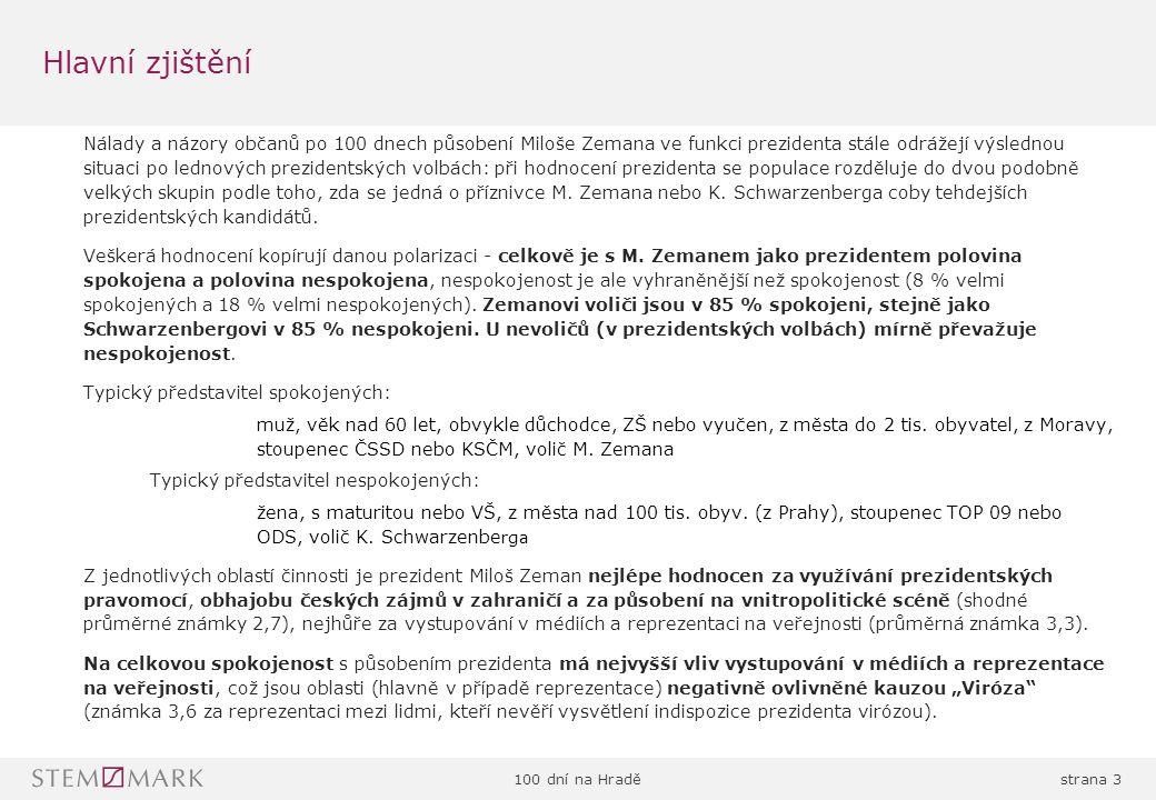 100 dní na Hraděstrana 44 Zeman: hodnocen lépe voliči a přívrženci ČSSD nebo KSČM Klaus: voliči Schwarzenberga, ODS i nevoliči