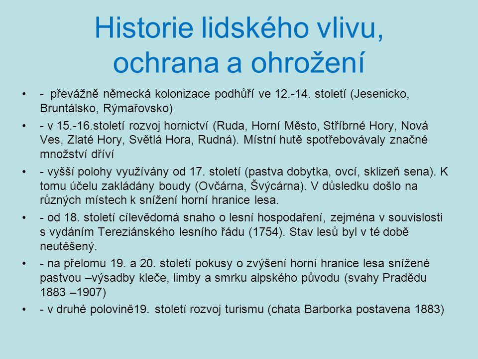 Historie lidského vlivu, ochrana a ohrožení •- převážně německá kolonizace podhůří ve 12.-14. století (Jesenicko, Bruntálsko, Rýmařovsko) •- v 15.-16.