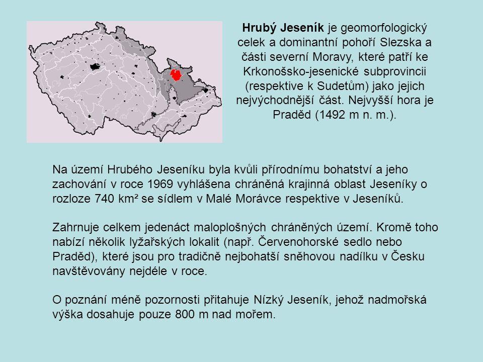 Na území Hrubého Jeseníku byla kvůli přírodnímu bohatství a jeho zachování v roce 1969 vyhlášena chráněná krajinná oblast Jeseníky o rozloze 740 km² s