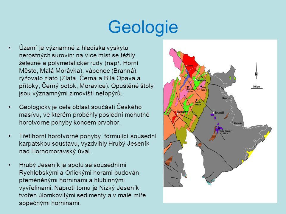 Geologie •Území je významné z hlediska výskytu nerostných surovin: na více míst se těžily železné a polymetalickér rudy (např. Horní Město, Malá Moráv