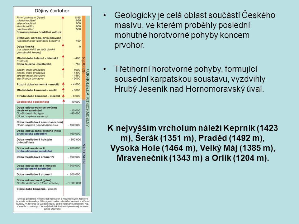 •Geologicky je celá oblast součástí Českého masívu, ve kterém proběhly poslední mohutné horotvorné pohyby koncem prvohor. •Třetihorní horotvorné pohyb