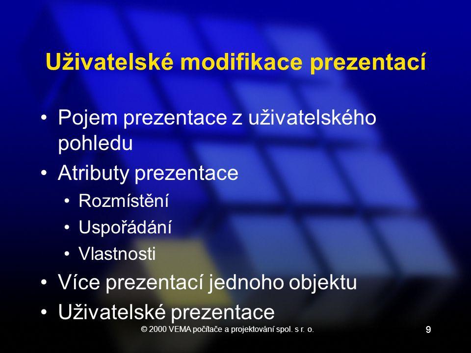 © 2000 VEMA počítače a projektování spol. s r. o. 9 Uživatelské modifikace prezentací •Pojem prezentace z uživatelského pohledu •Atributy prezentace •