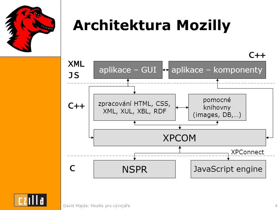 David Majda: Mozilla pro vývojáře4 Architektura Mozilly NSPR JavaScript engine XPCOM XPConnect zpracování HTML, CSS, XML, XUL, XBL, RDF C C++ XML JS aplikace – GUIaplikace – komponenty pomocné knihovny (images, DB,…) C++