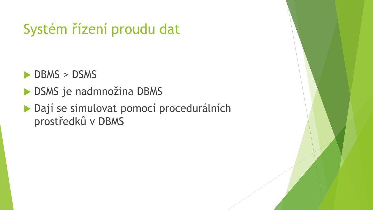 Systém řízení proudu dat  DBMS > DSMS  DSMS je nadmnožina DBMS  Dají se simulovat pomocí procedurálních prostředků v DBMS