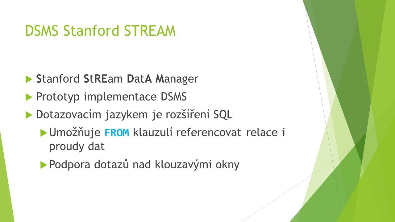DSMS Stanford STREAM  Stanford StREam DatA Manager  Prototyp implementace DSMS  Dotazovacím jazykem je rozšíření SQL  Umožňuje FROM klauzulí referencovat relace i proudy dat  Podpora dotazů nad klouzavými okny