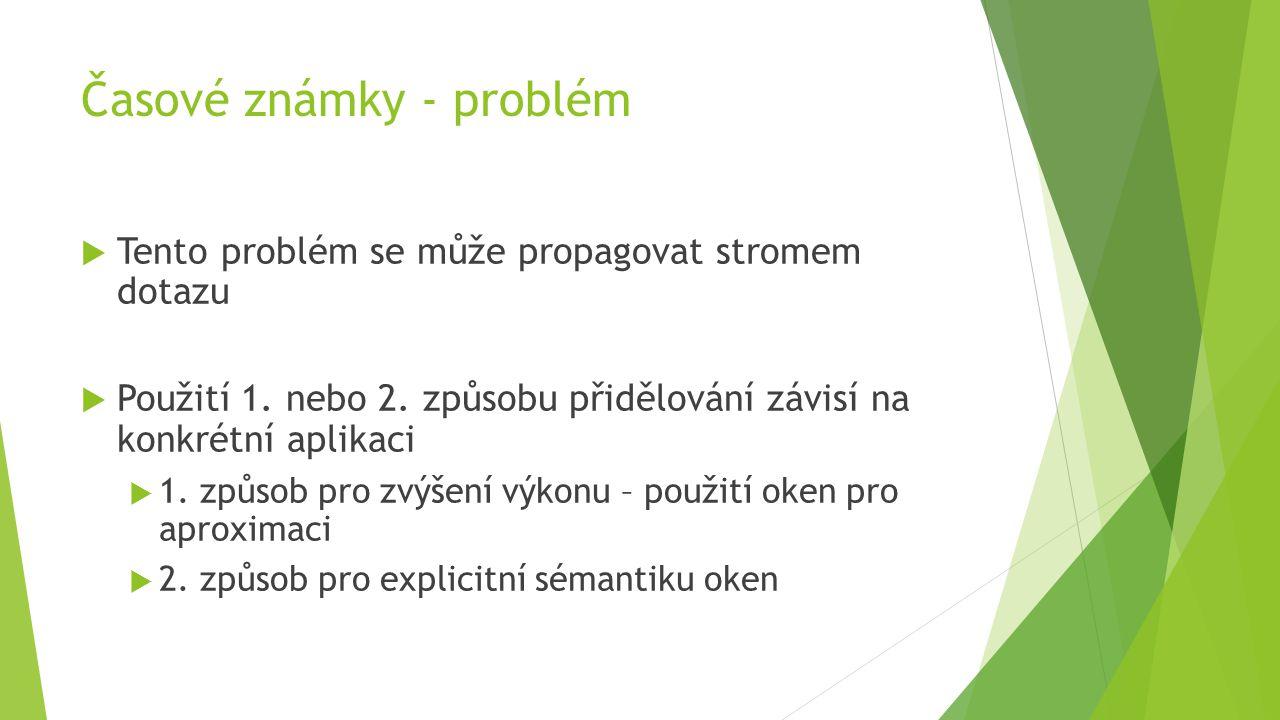 Časové známky - problém  Tento problém se může propagovat stromem dotazu  Použití 1.