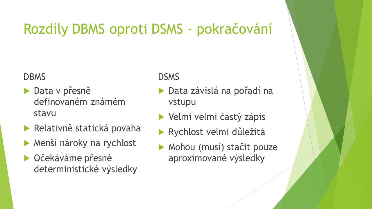 Rozdíly DBMS oproti DSMS - pokračování DBMS  Data v přesně definovaném známém stavu  Relativně statická povaha  Menší nároky na rychlost  Očekáváme přesné deterministické výsledky DSMS  Data závislá na pořadí na vstupu  Velmi velmi častý zápis  Rychlost velmi důležitá  Mohou (musí) stačit pouze aproximované výsledky