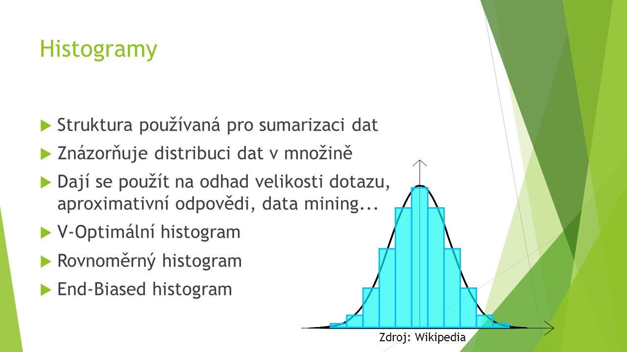 Histogramy  Struktura používaná pro sumarizaci dat  Znázorňuje distribuci dat v množině  Dají se použít na odhad velikosti dotazu, aproximativní odpovědi, data mining...