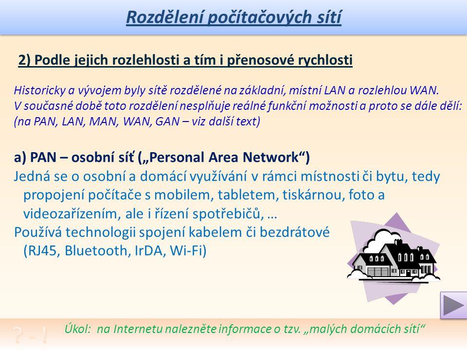 Rozdělení počítačových sítí Poznámka: Pokus se vybavit a diskutovat s dalšími žáky či kamarády, jaké jsou různé možnosti spojení ICT přístrojů, jak fungují, jak se s nimi pracuje Klient-Klient; (Peer-to-Peer) Všechny uzly (počítače) jsou si v síti rovny Každý počítač může poskytnout své prostředky a služby (paměťové médium, tisk, programy, …) Lze využít pro sdílení souborů apod.