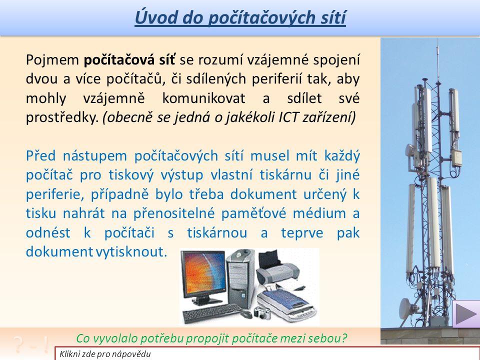 Úvod do počítačových sítí Pojmem počítačová síť se rozumí vzájemné spojení dvou a více počítačů, či sdílených periferií tak, aby mohly vzájemně komunikovat a sdílet své prostředky.