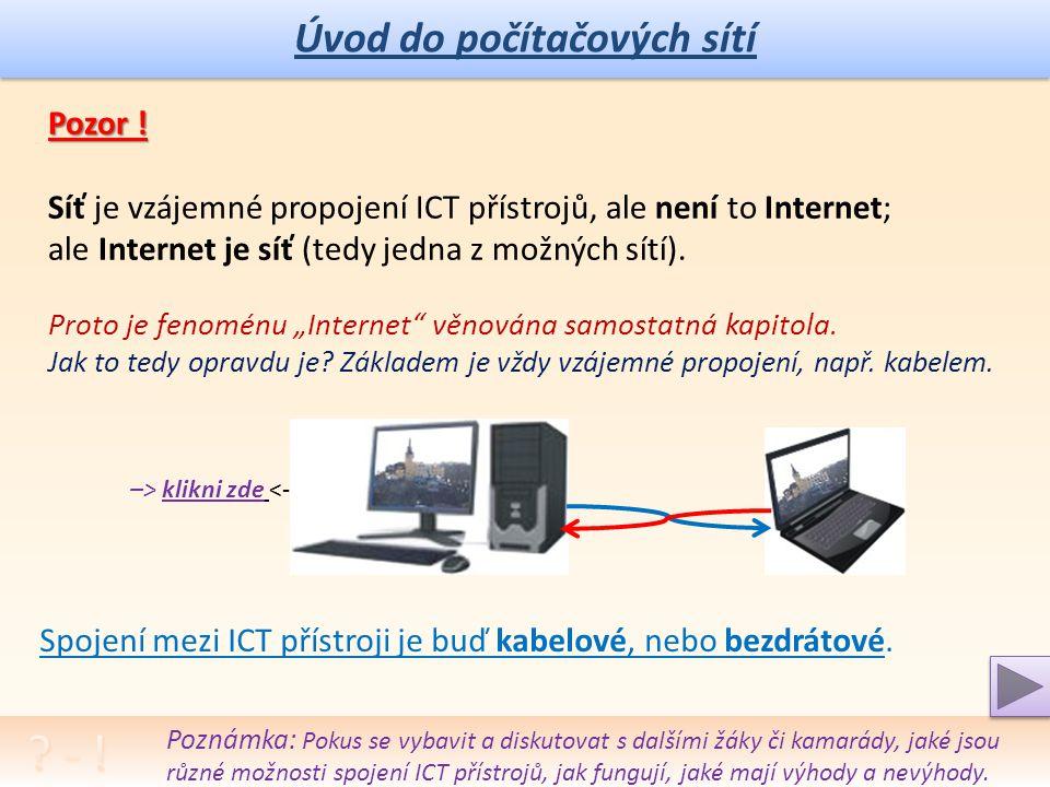 Úvod do počítačových sítí Pozor .