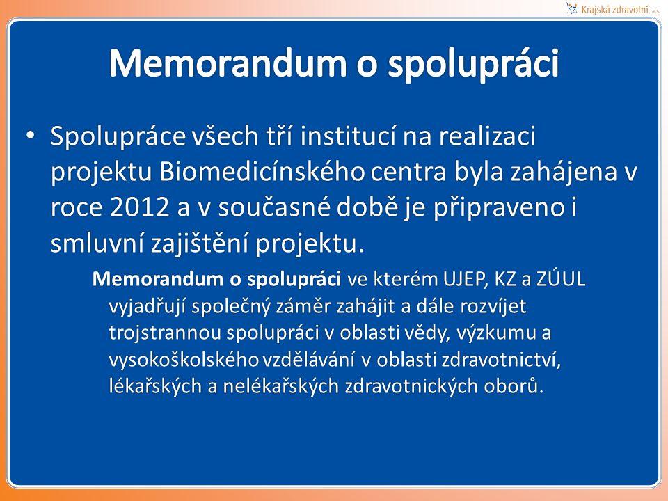 • Spolupráce všech tří institucí na realizaci projektu Biomedicínského centra byla zahájena v roce 2012 a v současné době je připraveno i smluvní zajištění projektu.