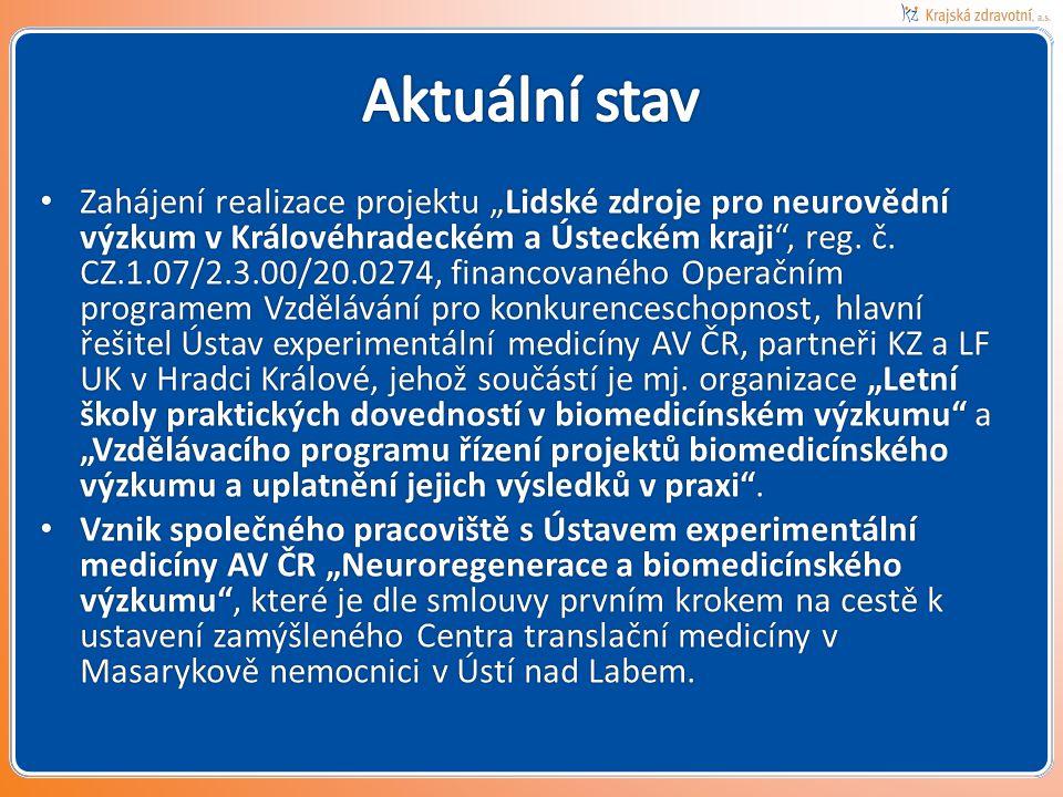 """• Zahájení realizace projektu """"Lidské zdroje pro neurovědní výzkum v Královéhradeckém a Ústeckém kraji"""", reg. č. CZ.1.07/2.3.00/20.0274, financovaného"""