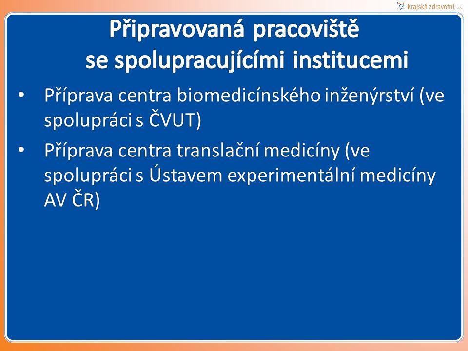 • Příprava centra biomedicínského inženýrství (ve spolupráci s ČVUT) • Příprava centra translační medicíny (ve spolupráci s Ústavem experimentální med