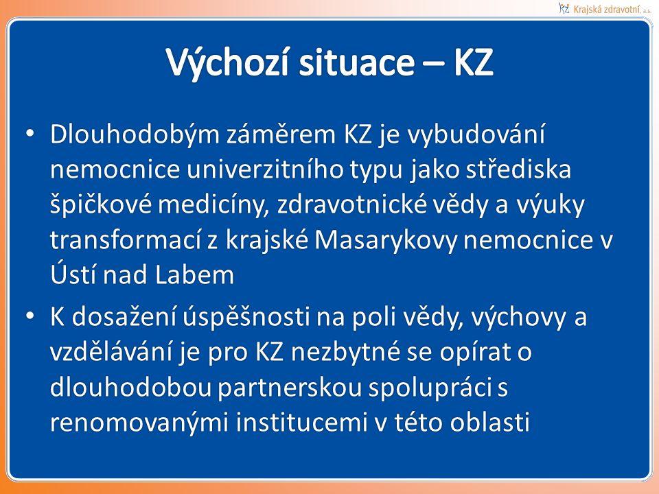 • Dlouhodobým záměrem KZ je vybudování nemocnice univerzitního typu jako střediska špičkové medicíny, zdravotnické vědy a výuky transformací z krajské