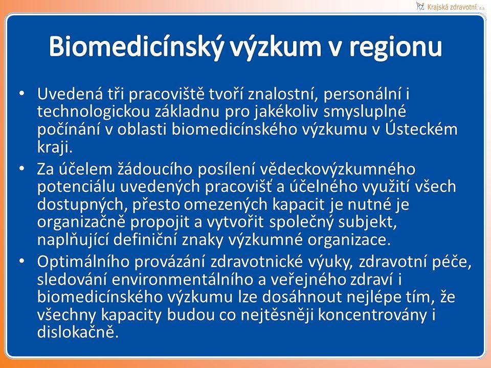 • Uvedená tři pracoviště tvoří znalostní, personální i technologickou základnu pro jakékoliv smysluplné počínání v oblasti biomedicínského výzkumu v Ústeckém kraji.