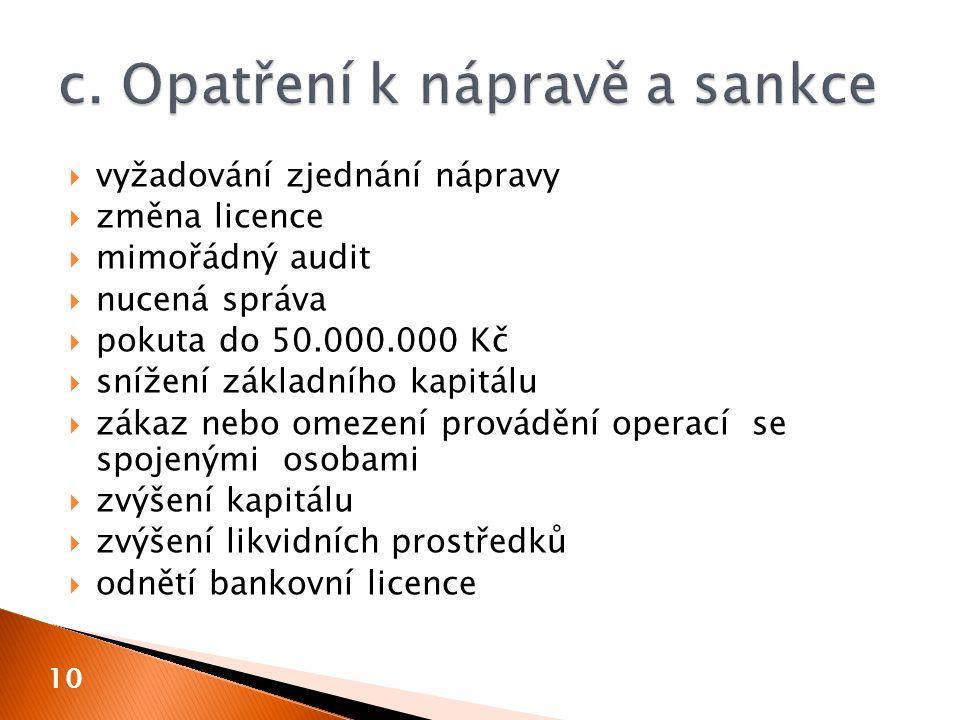  vyžadování zjednání nápravy  změna licence  mimořádný audit  nucená správa  pokuta do 50.000.000 Kč  snížení základního kapitálu  zákaz nebo o