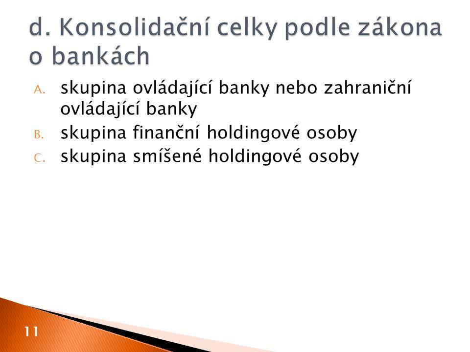 A. skupina ovládající banky nebo zahraniční ovládající banky B. skupina finanční holdingové osoby C. skupina smíšené holdingové osoby 11