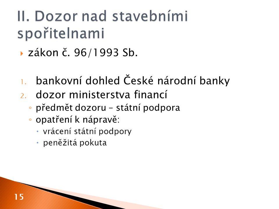  zákon č. 96/1993 Sb. 1. bankovní dohled České národní banky 2. dozor ministerstva financí ◦ předmět dozoru – státní podpora ◦ opatření k nápravě: 