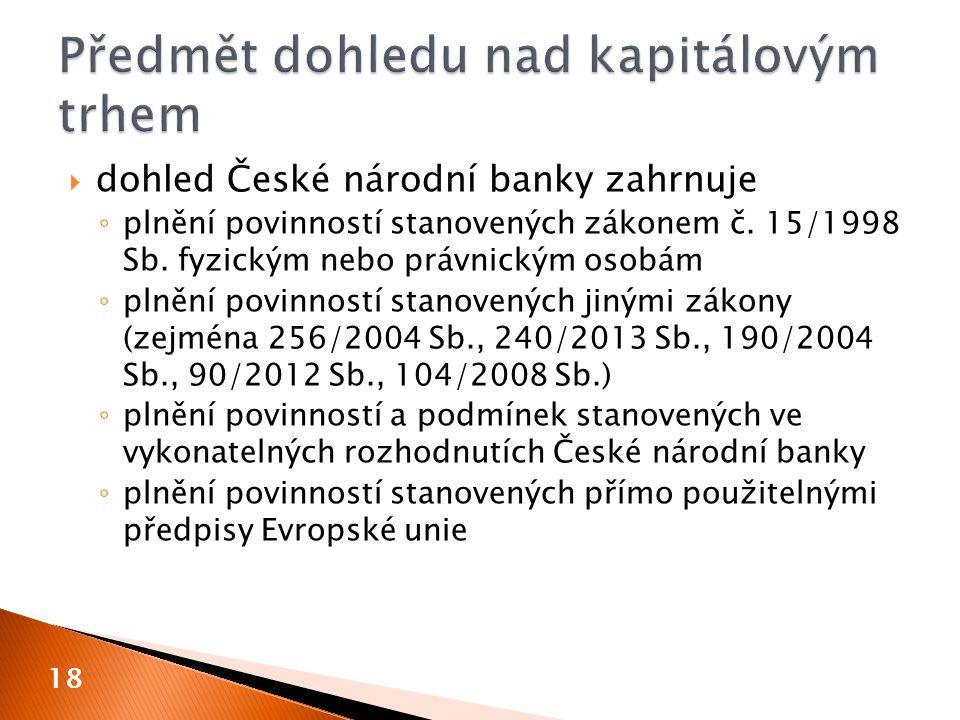  dohled České národní banky zahrnuje ◦ plnění povinností stanovených zákonem č. 15/1998 Sb. fyzickým nebo právnickým osobám ◦ plnění povinností stano