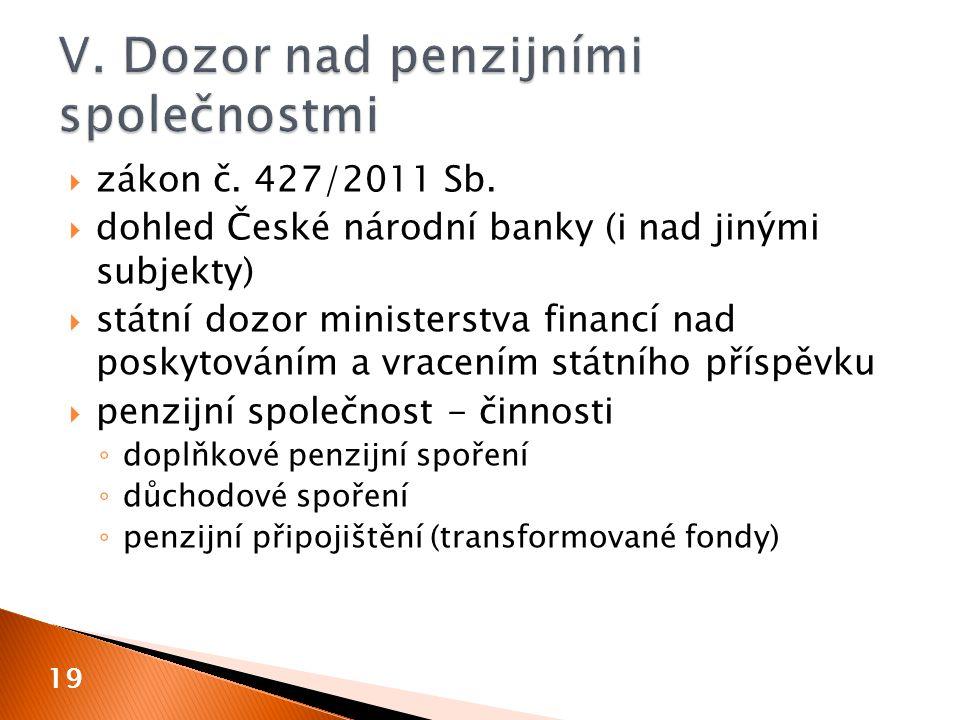  zákon č. 427/2011 Sb.  dohled České národní banky (i nad jinými subjekty)  státní dozor ministerstva financí nad poskytováním a vracením státního