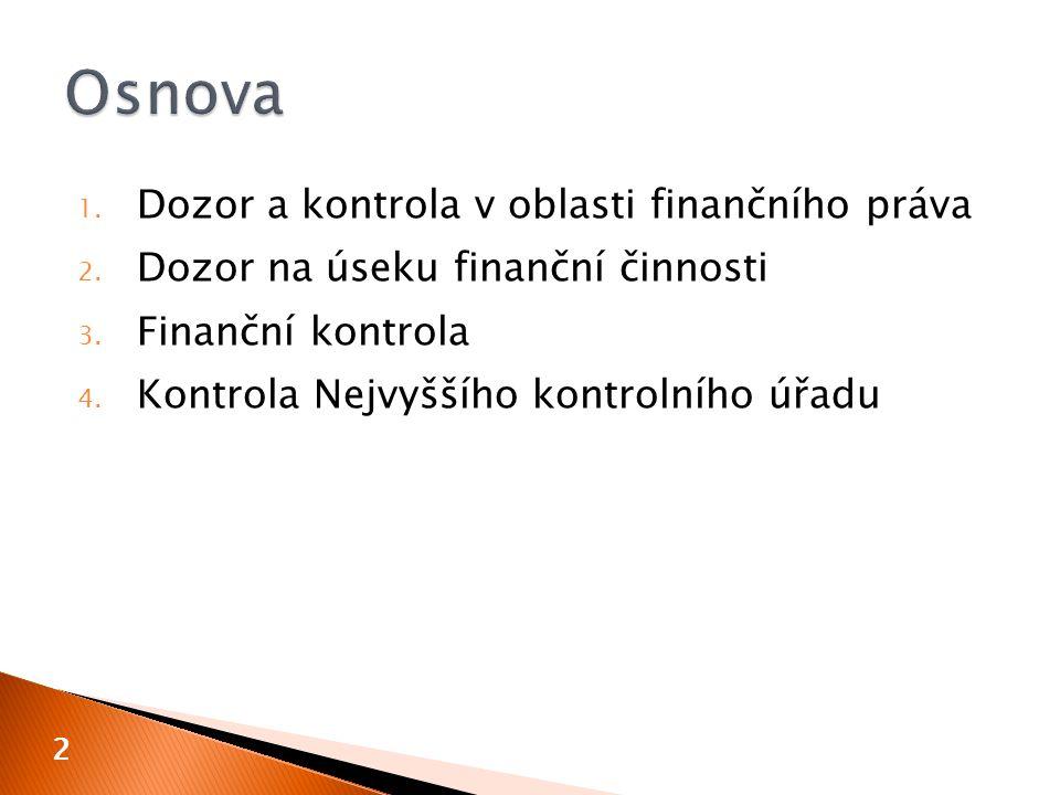 1. Dozor a kontrola v oblasti finančního práva 2. Dozor na úseku finanční činnosti 3. Finanční kontrola 4. Kontrola Nejvyššího kontrolního úřadu 2