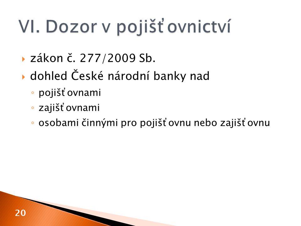  zákon č. 277/2009 Sb.  dohled České národní banky nad ◦ pojišťovnami ◦ zajišťovnami ◦ osobami činnými pro pojišťovnu nebo zajišťovnu 20