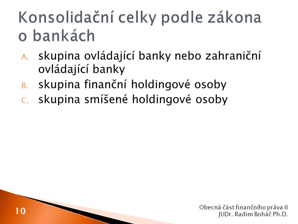 A. skupina ovládající banky nebo zahraniční ovládající banky B. skupina finanční holdingové osoby C. skupina smíšené holdingové osoby Obecná část fina