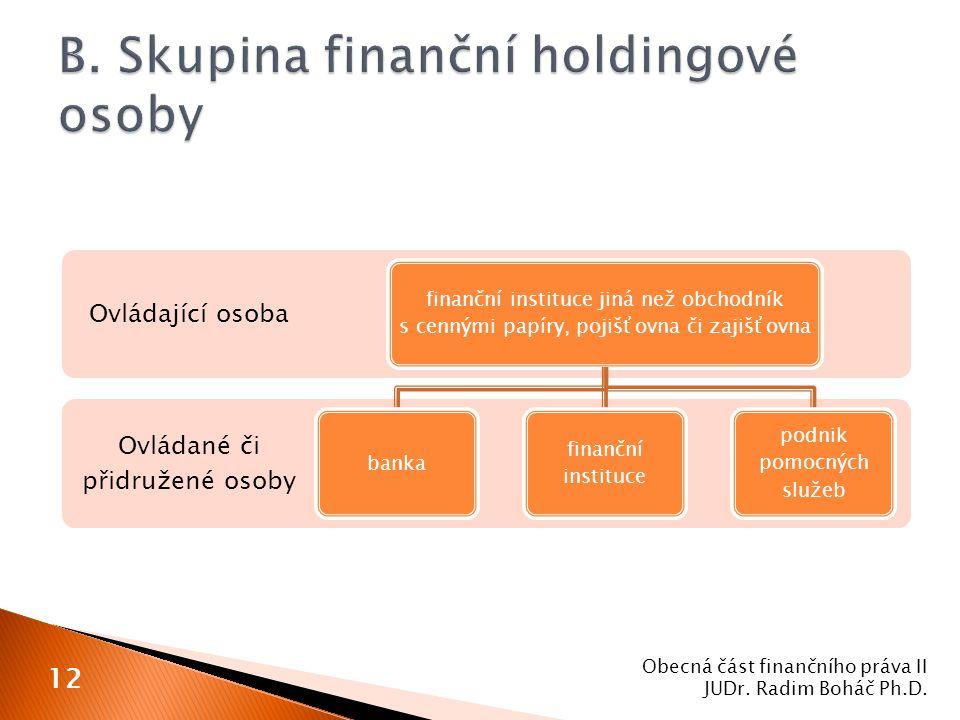 Obecná část finančního práva II JUDr. Radim Boháč Ph.D. 12 Ovládané či přidružené osoby Ovládající osoba finanční instituce jiná než obchodník s cenný