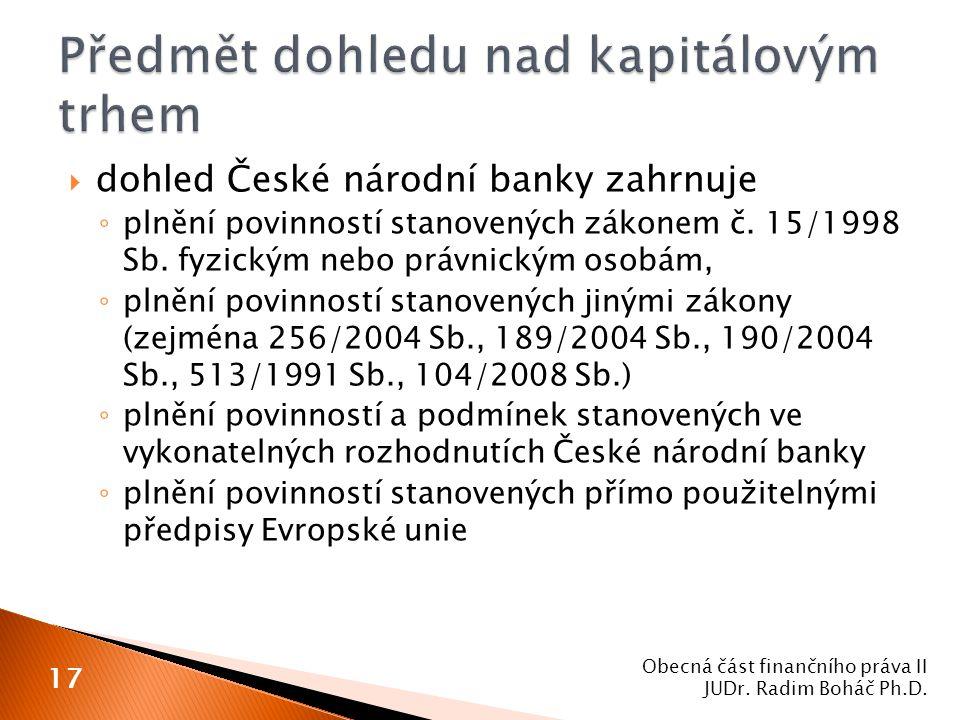  dohled České národní banky zahrnuje ◦ plnění povinností stanovených zákonem č. 15/1998 Sb. fyzickým nebo právnickým osobám, ◦ plnění povinností stan