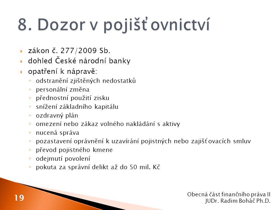  zákon č. 277/2009 Sb.  dohled České národní banky  opatření k nápravě: ◦ odstranění zjištěných nedostatků ◦ personální změna ◦ přednostní použití