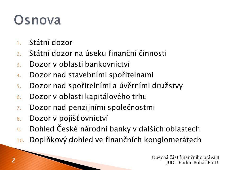 1. Státní dozor 2. Státní dozor na úseku finanční činnosti 3. Dozor v oblasti bankovnictví 4. Dozor nad stavebními spořitelnami 5. Dozor nad spořiteln