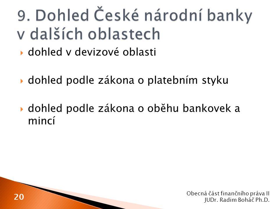  dohled v devizové oblasti  dohled podle zákona o platebním styku  dohled podle zákona o oběhu bankovek a mincí Obecná část finančního práva II JUD