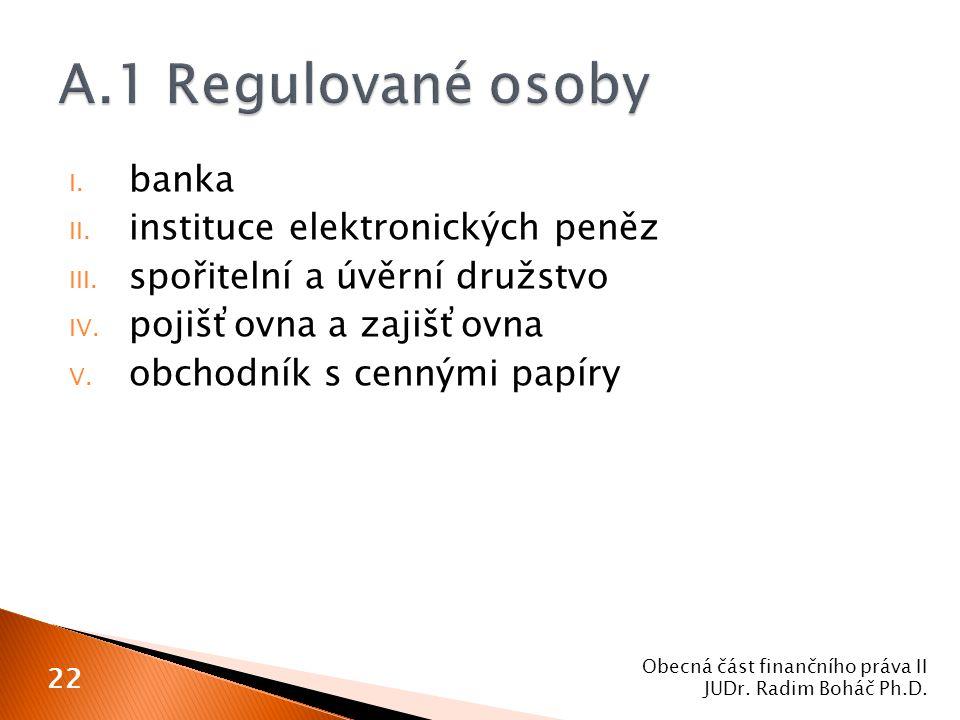 I. banka II. instituce elektronických peněz III. spořitelní a úvěrní družstvo IV. pojišťovna a zajišťovna V. obchodník s cennými papíry Obecná část fi