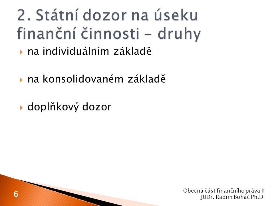  bankovní dohled České národní banky  zahrnuje dohled nad ◦ bankami ◦ pobočkami zahraničních bank ◦ nad bezpečným fungováním bankovního systému Obecná část finančního práva II JUDr.