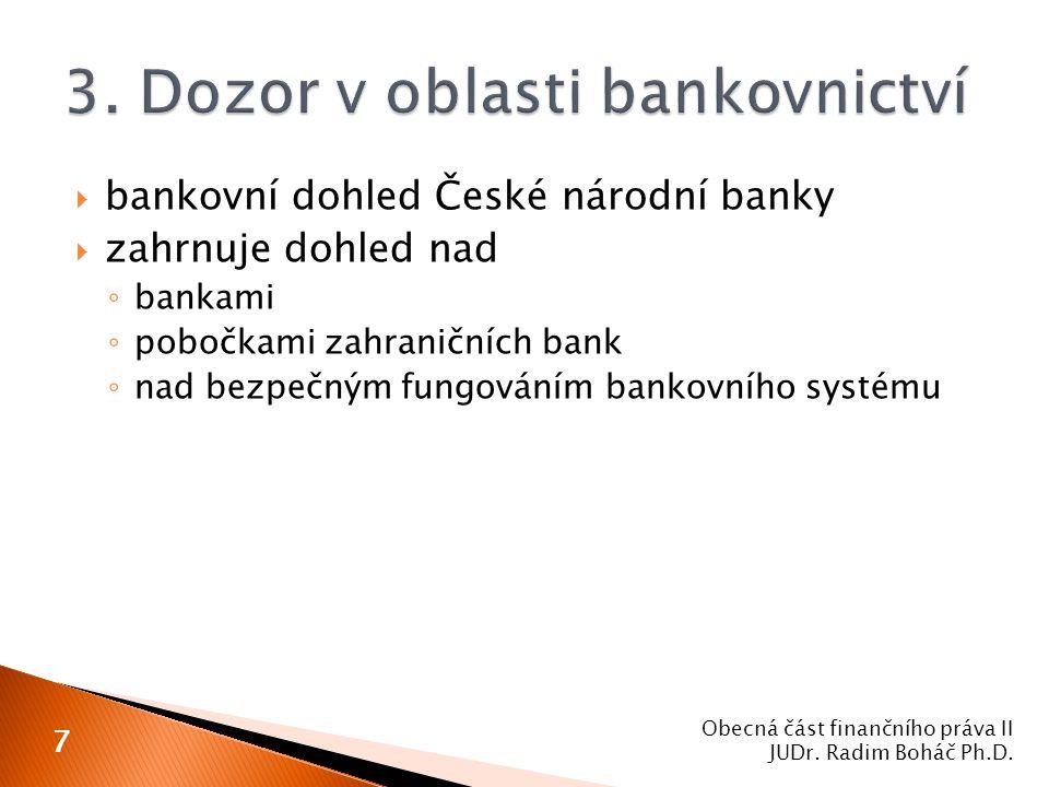  bankovní dohled České národní banky  zahrnuje dohled nad ◦ bankami ◦ pobočkami zahraničních bank ◦ nad bezpečným fungováním bankovního systému Obec