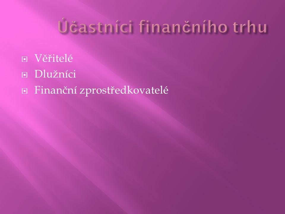  Věřitelé  Dlužníci  Finanční zprostředkovatelé