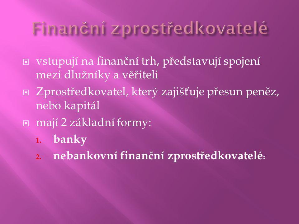  vstupují na finanční trh, představují spojení mezi dlužníky a věřiteli  Zprostředkovatel, který zajišťuje přesun peněz, nebo kapitál  mají 2 základní formy: 1.